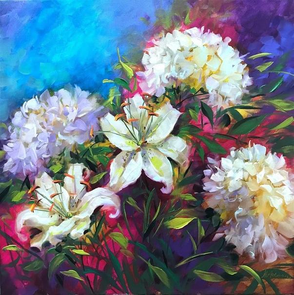 на картинах американской художницы Nancy Medina мы видим не просто цветы  так земля радуется, чисто, ярко, откровенно и красиво