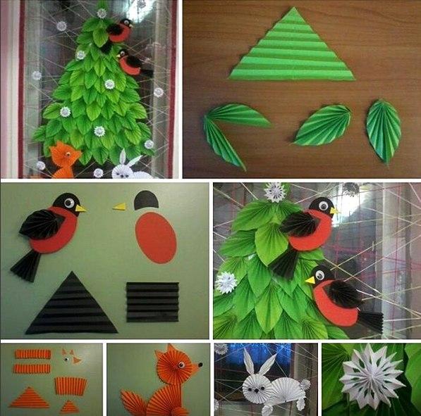 Поделки к Новому году: Оформление интерьера Ёлочка. Для ёлочки нам понадобятся треугольники из зелёной бумаги, можно добавить и несколько оттенков зелёного цвета. Треугольники складываем