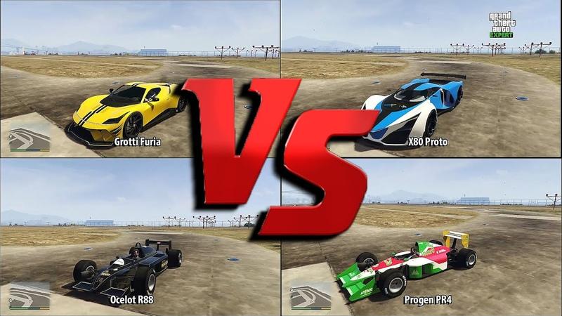Progen PR4 vs Ocelot R88 vs Grotti Furia vs X80 Proto GTA 5 Speed Test