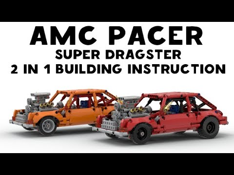Lego AMC Pacer Super Dragster Building instruction 2 in 1 Orange Red