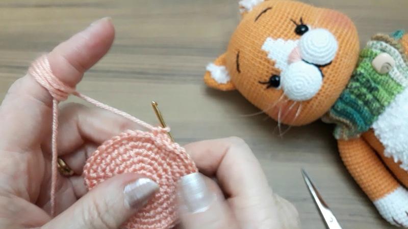 Amigurumikedi ponçik kedi 1 Bölüm ayak ve kol yapılışı 35 cm boyunda