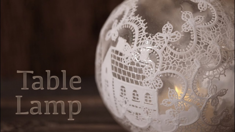 【レジン×アクリル絵の具】テーブルランプ DIY Frosting with resin [Table lamp]