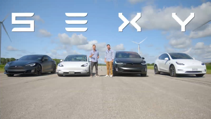 Tesla Model S vs 3 vs X vs Y PERFORMANCE Models DRAG ROLL RACE 720p