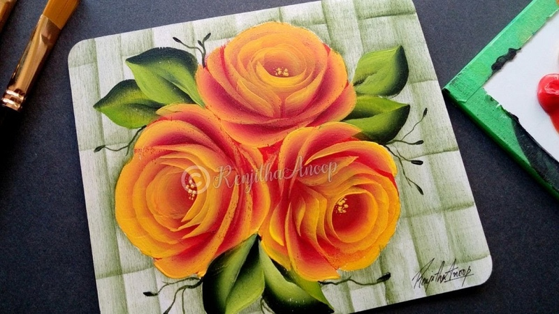 Acrylic painting painting tutorial roses step by step diy