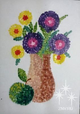 Рисуем точечный натюрморт ватными палочками Автор: Бетехтина Ольга Витальевна