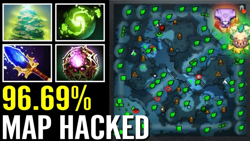 WTF 96 69% MAP HACK 38% CD Imba Treant Protector Scepter Offlane Top Immortal Dota 2 Pro Gameplay