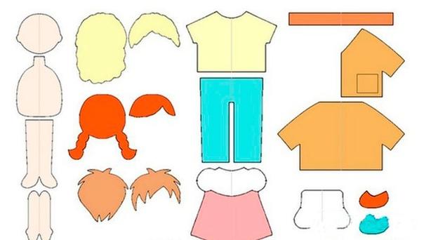 Тряпичная кукла из фетра Вам понадобится:фетр бежевого цвета, фетр различных цветов для одежды и волос, наполнитель синтепон либо холофайбер, ножницы, нитки, иголка.Мастер-класс?Распечатайте