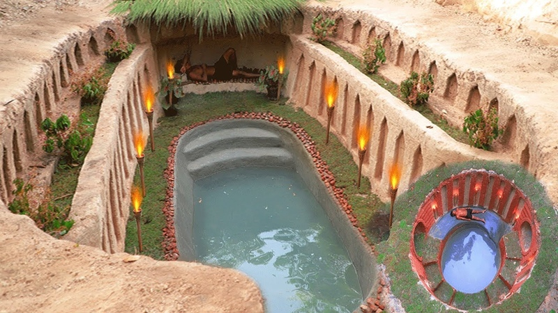 Build The Most Fantastic Underground House Mini Swimming Pool and Water Slide by Ancient Skills
