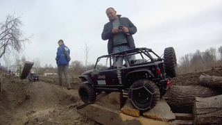 adventures in RC Drezgalovo on the trophy track, stones, logs and other obstacles