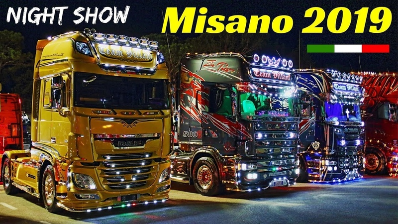 Misano 2019 Camion Decorati Custom Trucks Night Show Weekend del Camionista V8 Open Pipes Sound