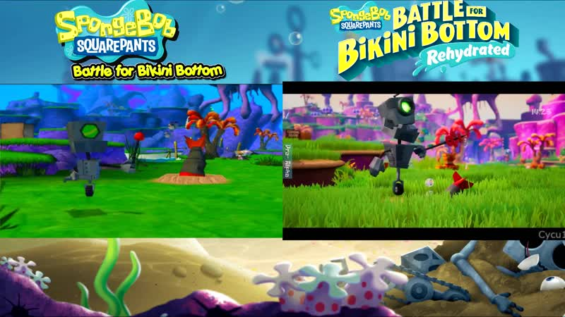 Spongebob Squarepants Battle for Bikini Bottom Remake vs Original Early Graphics Comparison
