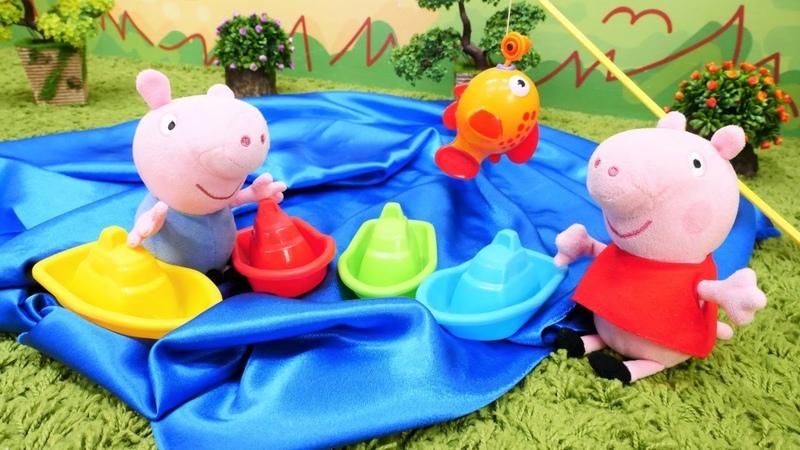 Oyuncak videoları Çizgi film Peppa Pig George için göl yapıyor
