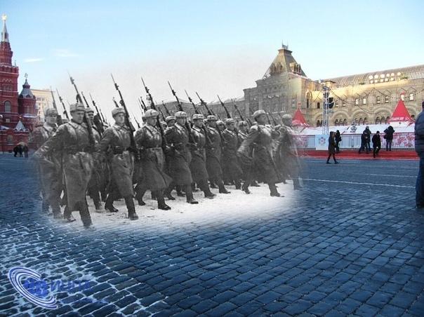 Красная площадь 1941 год. 7 Ноября. Годовщина Великой Октябрьской социалистической революции. Враг рядом. Советские войска оставили Волоколамск и Можайск. На отдельных участках фронта фашисты