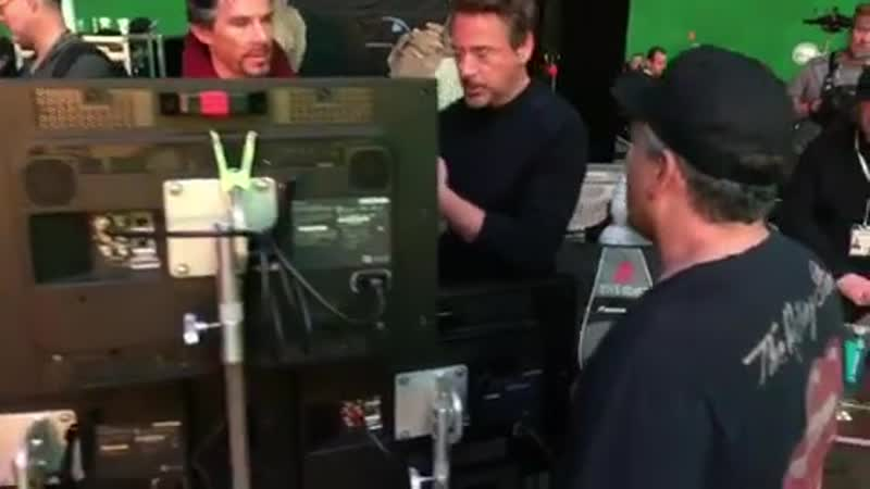 Benedict and RDJ bts on Avengers 06
