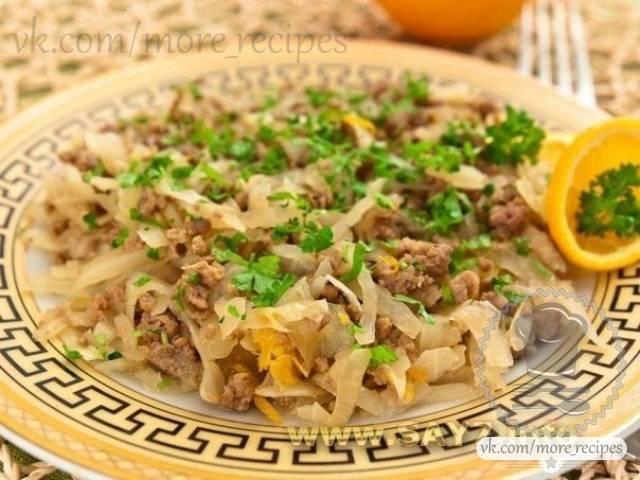 Рецепт приготовления капусты тушенной с фаршем и апельсинами