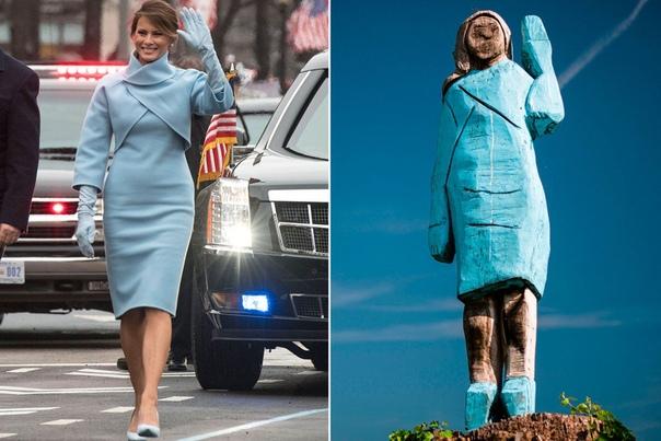 Статуя в родном городе Мелании Трамп в честь нее.