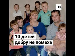 Многодетная семья занимается благотворительностью