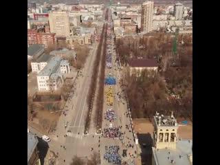 Первомайская демонстрация с высоты. Пермь 1 мая. Видео