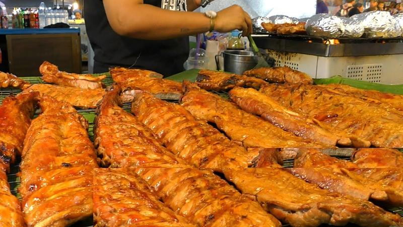 The Biggest Thai Street Food Market in Phuket Meat Ribs Fried Food Pad Thai Naka Market