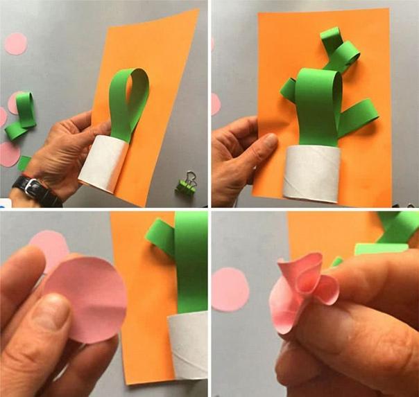 Поделка из цветной бумаги - смешные кактусики