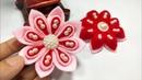 FD 16 How to make kanzashi felt flower Cara membuat bros bunga kain flanel