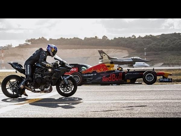 Kawasaki Ninja H2R Vs F1 Car Vs F16 Fighter Jet Vs Super cars Vs PrivateJet Drag Race @Krrish FR