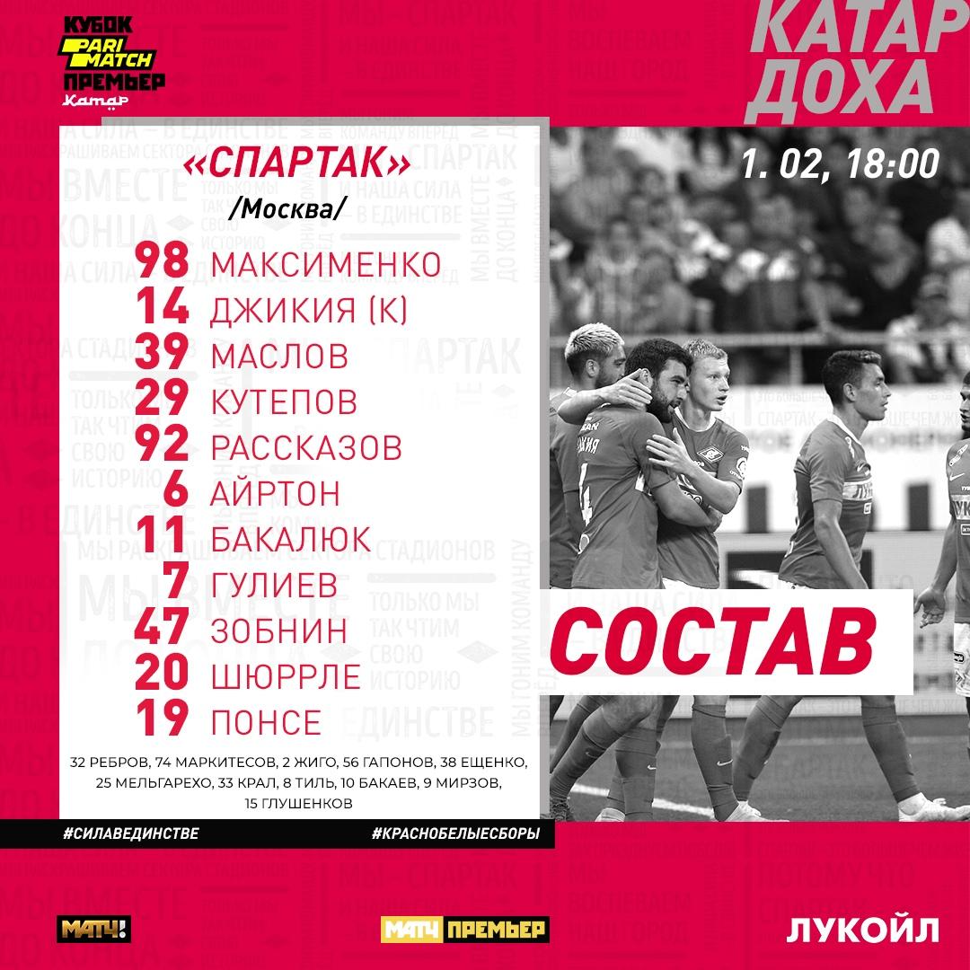 Состав «Спартака» на матч с «Ростовом»