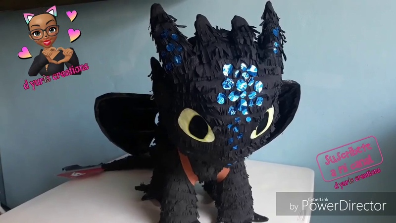 Como hacer una piñata de chimuelo DIY light fury how to make a toothless piñata