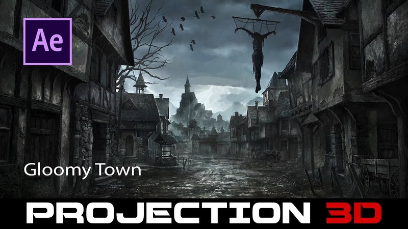 Create a 3D projected gloomy town in After Effects
