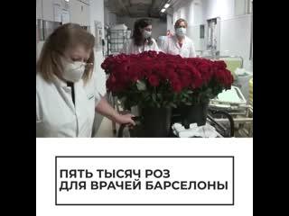 Пять тысяч роз для врачеи Барселоны