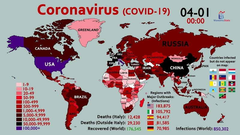 World Map Timelapse of the Coronavirus January 20 to April 1