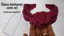 Tiara turbante com nó em malha molde para imprimir