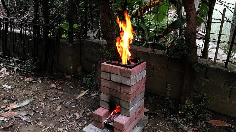 ROKET OCAK NASIL YAPILIR Ocakta İlk Yemek NOHUTLU MANTAR YEMEĞİ DIY Brick Rocket Stove