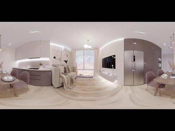 3D панорама кухни гостиной