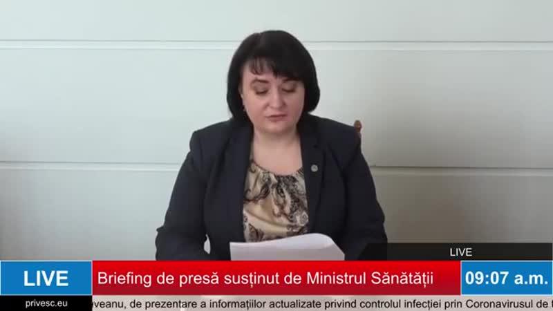 Briefing de presă susținut de Ministrul Sănătății, Muncii și Protecției Sociale, Viorica Dumbrăveanu